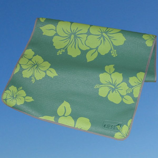 Joogamatto kukkakuviolla – vihreä