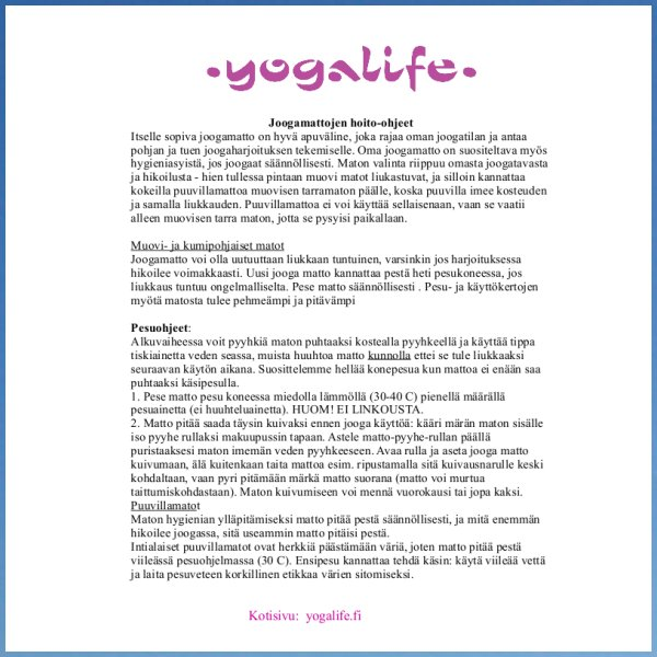 Joogamatton pesu- ja hoitoohje – Yogalife