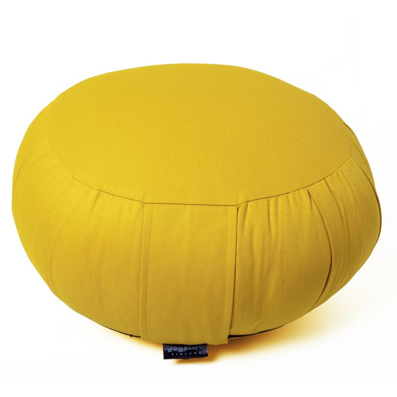 Zafu meditaatiotyyny -KAPOK täyte ja irrotettava päällinen – keltainen 1300g